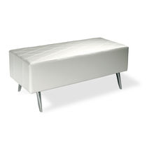 Contemporary upholstered bench / leather / for reception areas / white