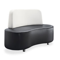 Contemporary upholstered bench / leather / for public buildings / white