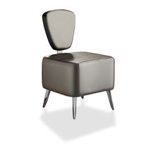 Contemporary fireside chair / synthetic leather / commercial