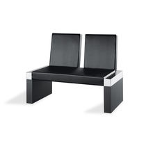 Contemporary upholstered bench / leather / for public buildings / black