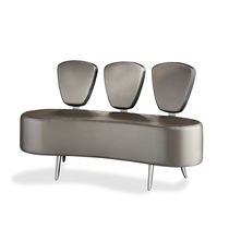 Contemporary upholstered bench / leather / for public buildings / gray
