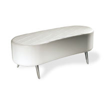 Contemporary upholstered bench / leather / for beauty salons / white