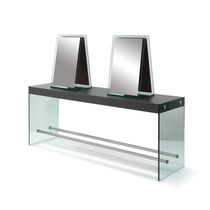 Contemporary dressing table / tempered glass facing / for hairdressers / 4-seater