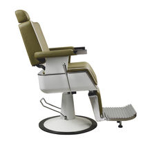 Chromed metal barber chair / synthetic leather / with headrest / swivel