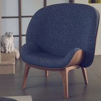 Contemporary armchair / fabric / wood veneer / contract