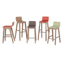 Contemporary bar stool / oak / fabric / synthetic leather