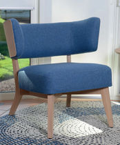 Contemporary fireside chair / fabric / oak / commercial