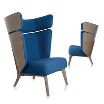 Contemporary armchair / fabric / oak / high back