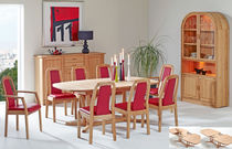 Contemporary dining table / beech / oval