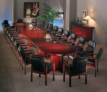 Contemporary conference table / rosewood / oval