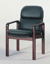 Conference chair with armrests / leather