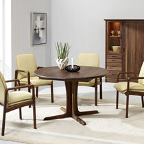 Contemporary dining table / walnut / round