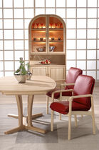 Contemporary dining chair / wooden / leather