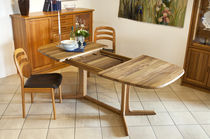 Contemporary dining table / teak / oval / extending