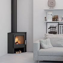 Wood heating stove / contemporary / corner / steel