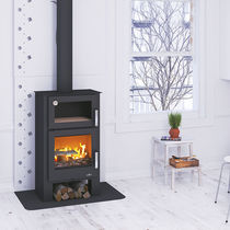 Wood heating stove / contemporary / steel / cast iron