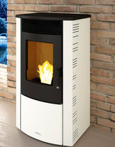 Pellet heating stove / contemporary / metal / with heat distribution unit