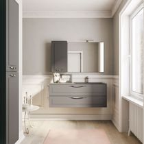 Wall-hung washbasin cabinet / wooden / glass / marble