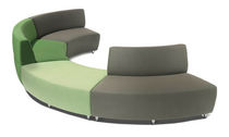 Modular upholstered bench / contemporary / fabric / gray