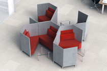 Visitor armchair / contemporary / in textile / modular