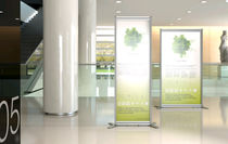 Self-supporting display totem / LED / for public spaces / for shops