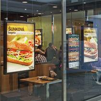 Wall-mounted display panel / indoor / luminous / metal