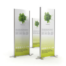 Self-supporting display totem / LED / for public areas / for shops