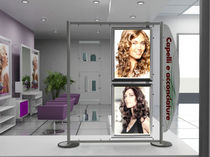 Beauty product display rack / glass / for hairdressers