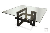Contemporary dining table / glass / painted metal / iron