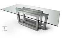 Contemporary dining table / crystal / painted metal / iron