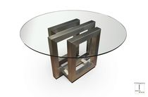 Contemporary dining table / crystal / iron / lacquered metal