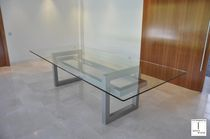 Contemporary boardroom table / crystal / iron / lacquered metal