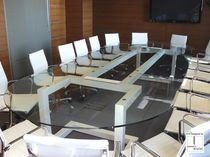 Contemporary conference table / metal / iron / lacquered metal