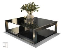 Contemporary coffee table / crystal / iron / lacquered metal