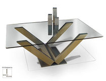 Contemporary coffee table / glass / rectangular