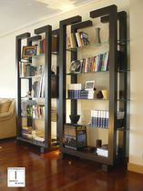 Contemporary shelf / glass / lacquered metal / for offices