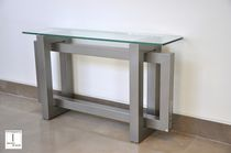 Contemporary sideboard table / crystal / iron / lacquered metal