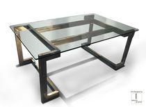 Executive desk / patinated metal / stainless steel / glass