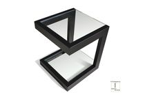 Contemporary side table / iron / lacquered metal / stainless steel