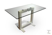 Contemporary dining table / glass / rectangular