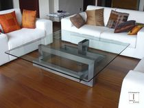 Contemporary coffee table / glass / square