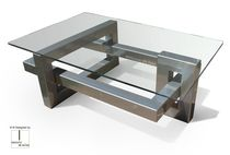 Contemporary coffee table / metal / rectangular