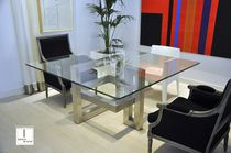 Contemporary table / glass / square
