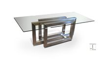 Contemporary table / glass / stainless steel / rectangular