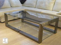 Contemporary coffee table / glass / iron / rectangular
