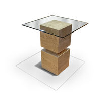 Side table / contemporary / marble / square