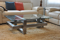 Coffee table / contemporary / metal / rectangular