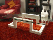 Coffee table / original design / glass / indoor