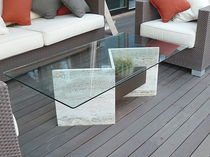 Coffee table / contemporary / marble / outdoor