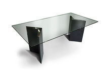 Contemporary table / glass / stainless steel / indoor